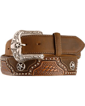 Justin Texas All Star Leather Western Belt - Reg & Big, Brown, hi-res