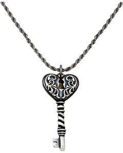 Montana Silversmiths Women's Heart Key Necklace, Silver, hi-res