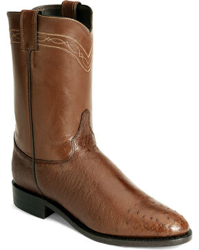 Justin Smooth Ostrich Roper Cowboy Boots, Brown, hi-res