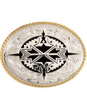 Nocona Oval Aztec Buckle, Silver, hi-res