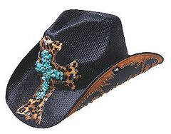 Peter Grimm Zeke Leopard Print Cross Black Straw Cowgirl Hat, , hi-res