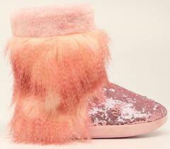 Blazin Roxx Pink Furry Sequin Slipper Booties, , hi-res
