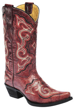 Corral Girls' Embroidered Red Cowgirl Boots - Snip Toe, , hi-res