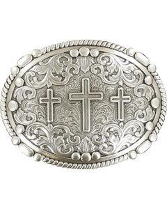 Nocona genuine silver plated 3 cross buckle, , hi-res