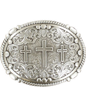Nocona genuine silver plated 3 cross buckle, Silver, hi-res