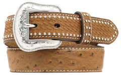 Nocona Kids' Basketweave & Ostrich Print Studded Leather Belt, , hi-res