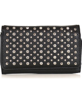 Savana Women's Rhinestone and Stud Wallet, Black, hi-res
