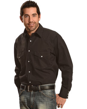 Crazy Cowboy Men's Long Sleeve Western Shirt - Big and Tall, Black, hi-res
