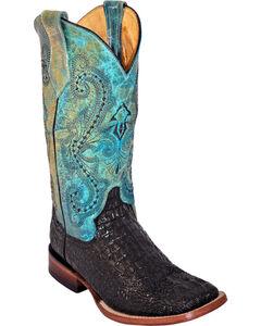 Ferrini Women's Black Caiman Print Cowgirl Boots - Square Toe, , hi-res