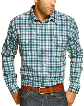Ariat Men's Fire-Resistant Trenton Plaid Long Sleeve Work Shirt, Multi, hi-res