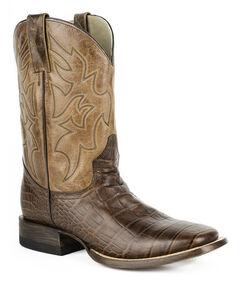Roper Croc Print Tall Cowboy Boots - Square Toe, Brown, hi-res