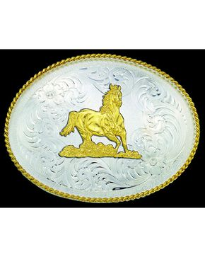 Montana Silversmiths Engraved Gold-Tone Horse & Border Buckle, Silver, hi-res