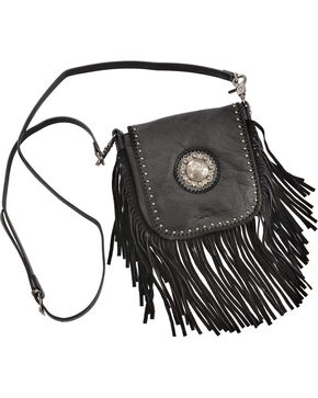 Shyanne Women's Western Concho Fringe Crossbody Bag, Black, hi-res