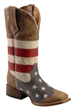 Roper American Flag Cowboy Boots - Square Toe, , hi-res