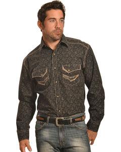 Crazy Cowboy Men's Black Print Western Snap Shirt , , hi-res