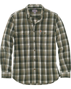 Carhartt Men's Olive Fort Plaid Long-Sleeve Shirt - Tall , , hi-res