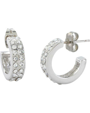 Montans Silversmiths Women's Double Shine Hoop Earrings , Silver, hi-res