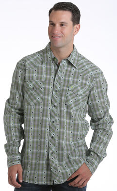Garth Brooks Sevens by Cinch Men's Dobby Plaid Print Western Shirt, , hi-res