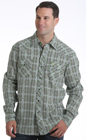 Garth Brooks Sevens by Cinch Men's Dobby Plaid Print Western Shirt, Multi, hi-res