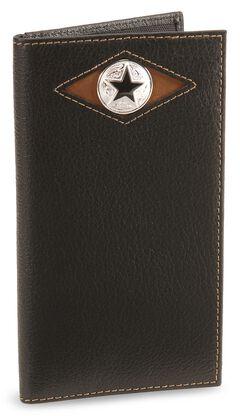 Nocona Star Concho Leather Checkbook Wallet, , hi-res