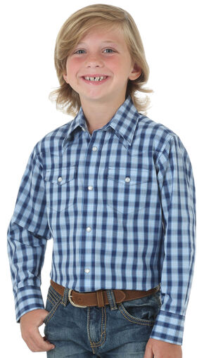 Wrangler Boys' Blue Wrinkly Resist Check Long Sleeve Shirt , Blue, hi-res