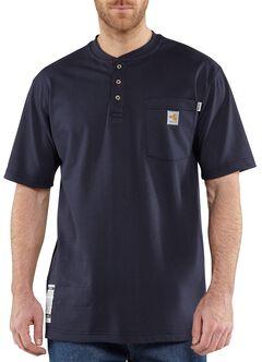 Carhartt Flame Resistant Henley Short Sleeve Work Shirt, Navy, hi-res