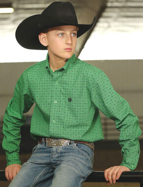 Cinch Boy's Green Printed Weave Long Sleeve Shirt, Green, hi-res