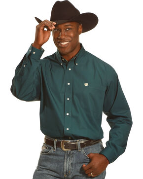 Cinch Men's Forest Green Long Sleeve Western Shirt, Forest Green, hi-res