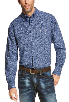 Ariat Men's Blue Rocklin Print Long Sleeve Shirt - Big and Tall , Blue, hi-res
