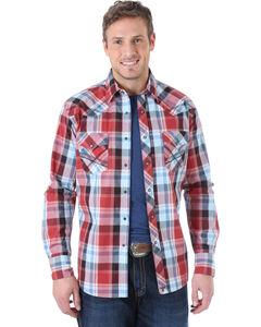 Wrangler Men's 20X Wine and Blue Plaid Fancy Stitch Western Shirt , , hi-res