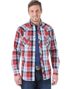 Wrangler Men's 20X Wine and Blue Plaid Fancy Stitch Western Shirt , Wine, hi-res