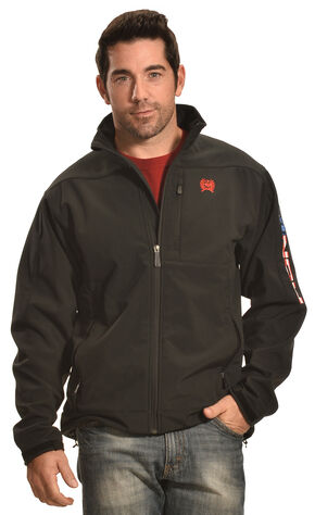 Cinch Men's American Flag Logo Bonded Jacket , Black, hi-res