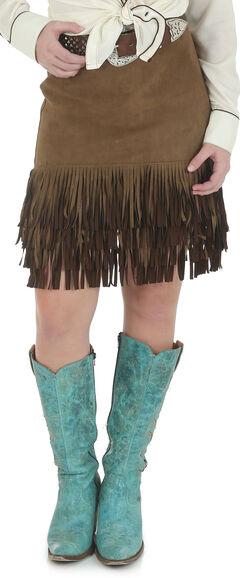 Wrangler Women's Suede Skirt with Fringe Hem, , hi-res