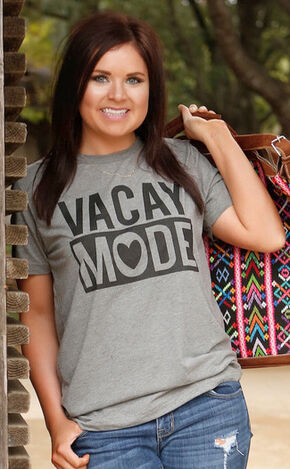 ATX Mafia Women's Grey Vacay Mode T-Shirt , Grey, hi-res