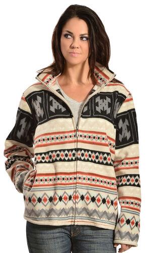 Jane Ashley Aztec Fleece Jacket, Tan, hi-res