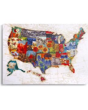 Demdaco American Backroads Map Wall Art, Multi, hi-res