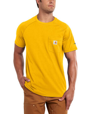 Carhartt Men's Force Cotton Yellow Short Sleeve Shirt, Yellow, hi-res