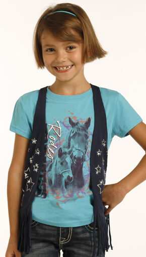 Rock & Roll Cowgirl Girls' Black Fringe Vest , Black, hi-res
