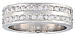 Montana Silversmiths Women's Two Trails Channel Set Band Ring, Silver, hi-res