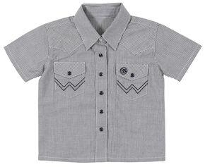 Wrangler Toddler Boys' Blue Western Yoke Snap Short Sleeve Shirt, Blue, hi-res