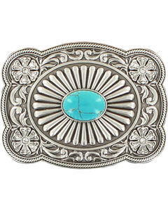 Blazin Roxx Silver Plated Turquoise Belt Buckle, , hi-res