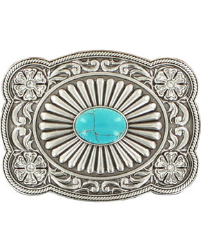 Blazin Roxx Silver Plated Turquoise Belt Buckle, Silver, hi-res