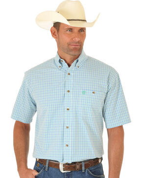 Wrangler George Strait White, Green and Blue Plaid Short Sleeve Shirt, Multi, hi-res