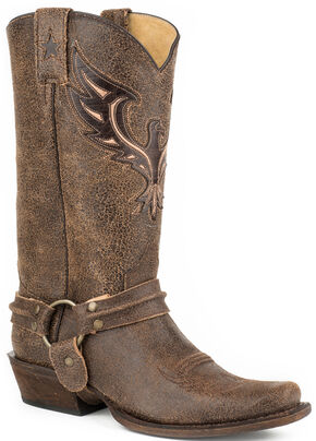 Roper Eagle Bandit Harness Western Boots - Square Toe, Brown, hi-res