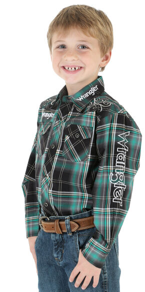 Wrangler Boys' Green Plaid Logo Snap Shirt, Green, hi-res