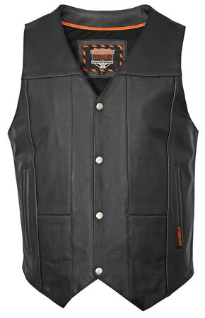 Interstate Leather Multiple Pocket Vest - Big & Tall, Black, hi-res