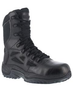 "Reebok Men's Stealth 8"" Lace-Up Black Side-Zip Work Boots - Composition Toe, , hi-res"