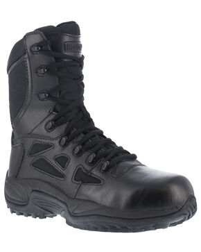 "Reebok Men's Stealth 8"" Lace-Up Black Side-Zip Work Boots - Composition Toe, Black, hi-res"