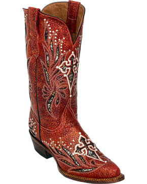 Ferrini Red Vixen Cowgirl Boots - Pointed Toe, Red, hi-res