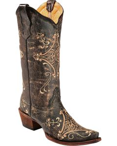 Circle G Crackle Tan Embroidered Cowgirl Boots - Snip Toe, , hi-res